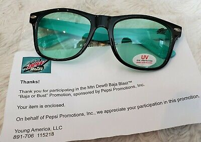 Mountain MTN DEW Baja Blast or Bust Taco Bell Sunglasses Promo RARE NEW