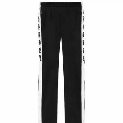 NEW Victorias Secret PINK Open Leg Snap Back Black Track Pants Large F3945