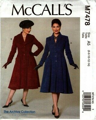 McCalls Sewing Pattern 7478 M7478 Women's Vintage Coats Size 6-8-10-12-14 NEW