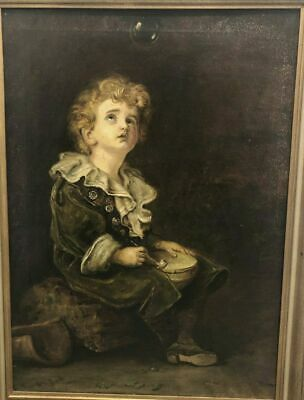 """ANTIQUE OIL PAINTING ON CANVAS WITH FRAME """"PORTRAIT OF KIND"""" end 1800 early 1900"""