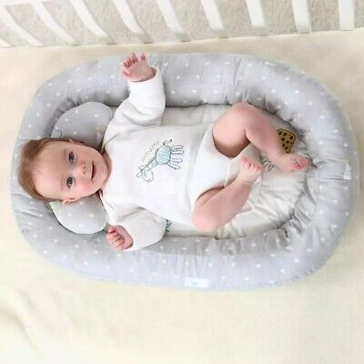 Portable Baby Nest Bassinet Bed Soft Lounger Crib Sleep w/ Pillow Breathable Set
