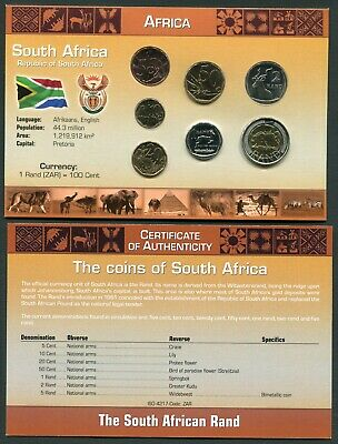 South Africa 5 cent - 5 rand 2008 UNC Coin Set New World Money Series w/CoA