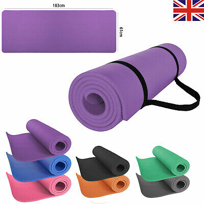 Large Yoga Mat Workout Fitness Pilates Extra Thick Non-Slip Mats + Carry Strap