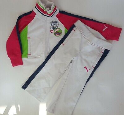 Puma Toddlers Tracksuit Set Girls Pink White  Suit age 24 months
