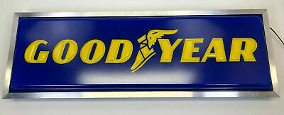 NEW Lighted Dealer Sign GOODYEAR 12 X 36 Silver Frame Single Sided Hanging Sign