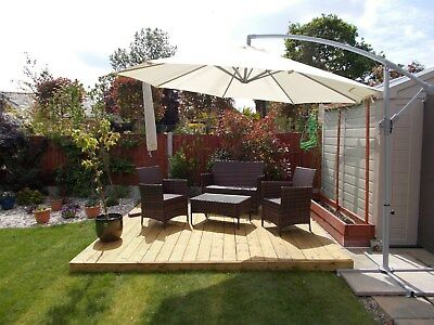 DIY Garden Decking Kits 2.4x2.4 to 2.4x9.6 All components included. Free Board