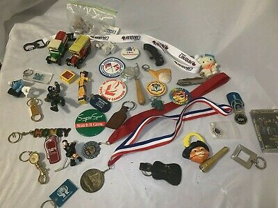 Large Junk Drawer Lot Patches Pins Buttons Cars Pezz Medals