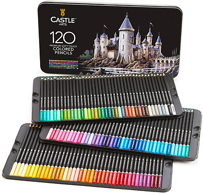 Castle Art Supplies 120 Coloured Pencil Set for artists, featuring 'soft series'