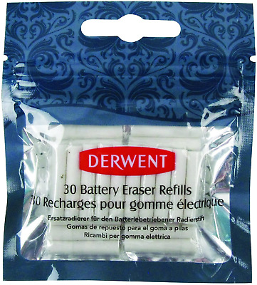 Derwent Replacement Erasers, Set of 30, For Battery Operated Eraser Pen, 2300023