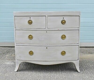 Victorian small Painted bow front chest of drawers