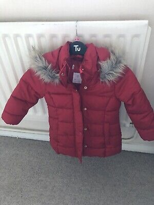 Red Padded Girls Coat Size 2-3 Years