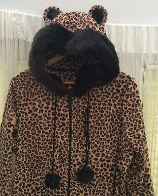 M&S Leopard Print All-In-One One piece With Faux Fur Edged Hood Size UK18