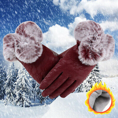 Leather Thicken Warm Faux Fur Gloves Lace Cashmere Gloves Touch Screen Mittens