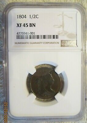 1804 Draped Bust Half Cent Plain 4 Stemless Wreath NGC XF 45 Condition