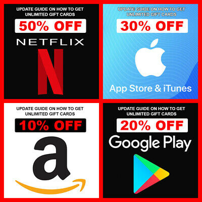 """UPDATED GUIDE"" Get Netflix, Amazon, Google Play, iTunes, Gift Cards 40-60% Off"