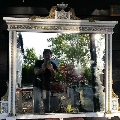 A Super Large Victorian Overmantle Mirror Distressed Foxed worn plate