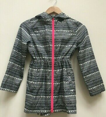 Girls Black White Pink Patterned Parka In A Pocket Age 9-10 Years 140 cm