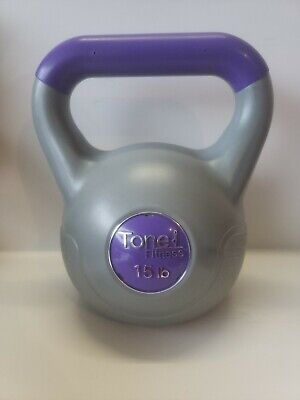 Pre-owned Tone Fitness 15lb Vinyl-Coated Kettlebell Home Gym Weights CrossFit