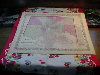 City of Baltimore Maryland Map 1860 Colton's General Atlas Steel Engraving CA26