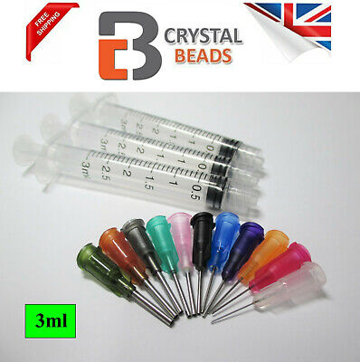 3pcs 3ml Syringe & Dispence with Mix 15 Tips for Glue, ink, oil, Pinflair, Flux