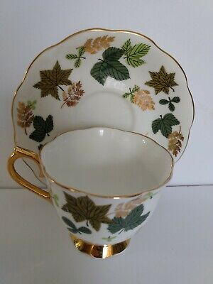 Royal Albert Lustre Tea Cup & Saucer Gold Gild Trim with Leaves England