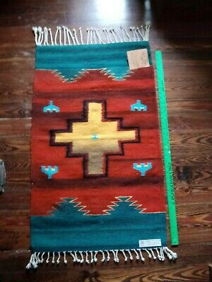 Zapotec Indian Hand Woven 100% Sheep's Wool Rug/Wall Hanging Southwest