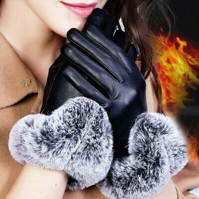Thicken Warm Touch Screen Mittens Faux Fur Gloves PU Leather Cashmere Gloves