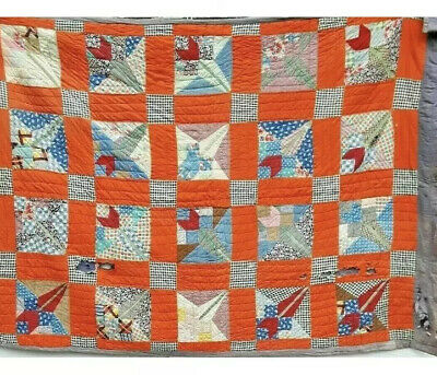 GENUINE VINTAGE HAND MADE AMERICAN QUILT PATCHWORK COTTON THROW - Need Repairs!