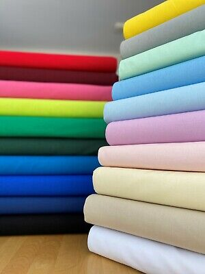 100% Craft Cotton Fabric 112cm wide By Metre 40 Different Plain Colour