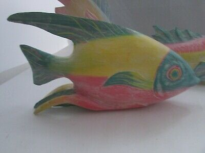 Three 3 Wooden Fish Decor Carved Painted Pastel Colors Beach Tropical