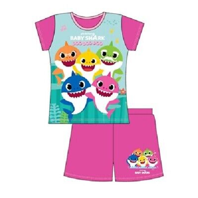 Official BABY SHARK pink Short Pyjamas - Age 18/24 mths, 2/3, 3/4 and 4/5 yrs