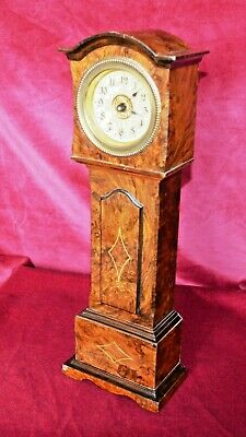 Antique Victorian Figured Walut Inlaid Miniature Grandfather Clock 8 Day Movemen