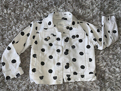 Next White Polka Dot Denim Jacket Age 4