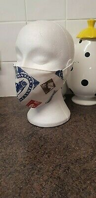 Brand new cotton face mask made from a designer stamp collector fabric size mans