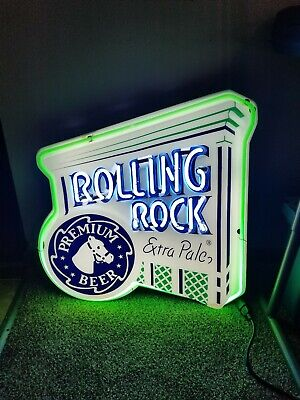 Rolling Rock Beer neon light up bar sign horse head man cave bar pa