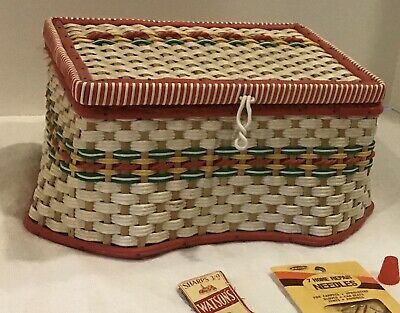 Vintage MCM SEWING BASKET and 10 Misc. sewing notions