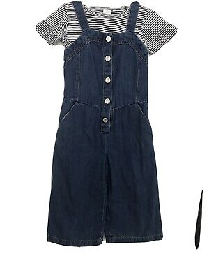 Next Girls Denim Cropped Dungaree And T Shirt Set Age 6