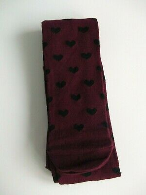 Marks & Spencer Girls Burgundy with Black Hearts Tights - For Ages 13-14 Years