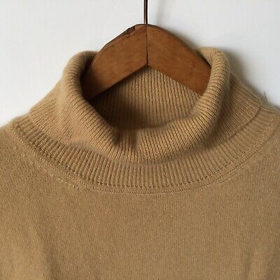 VINTAGE LORD & TAYLOR Beige TURTLENECK Luxuriously Soft 2-Ply100% Cashmere Sz M