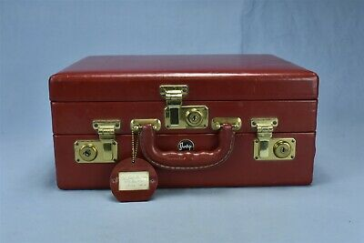 Vintage SHORTRIP TRAVEL SUITCASE RED LEATHER DOUBLE LAYER JEWELRY MAKE UP #09795
