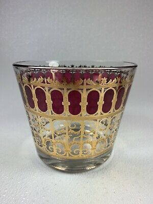 Vintage Clear Glass Painted Gold Maroon Design Ice Bucket Mid Century Modern