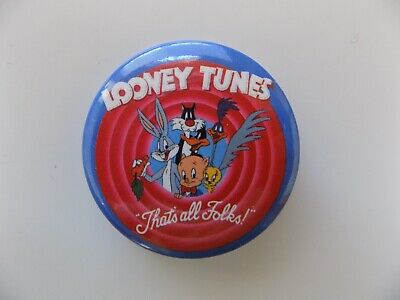 Looney Tunes Pin Back Button Bugs Bunny That's All Folks Porky Pig Tweety Bird
