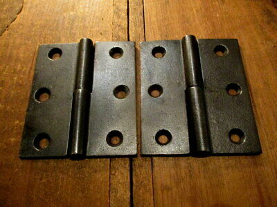 """Pair Early Iron Door Hinges 3.5"""" x 3"""" R H Lift Off Hinge"""