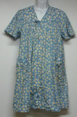 Women's Nightgown House Dress Size Large Floral Blue Yellow White
