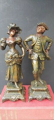 Antique Spelter Colour Painted/Tinted17thC Lady&GentlemanFiguresin PeriodCostume
