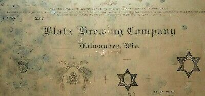 Antique c1920s Lithographic Stone Blatz Brewing Company Beer Milwaukee Wisconsin