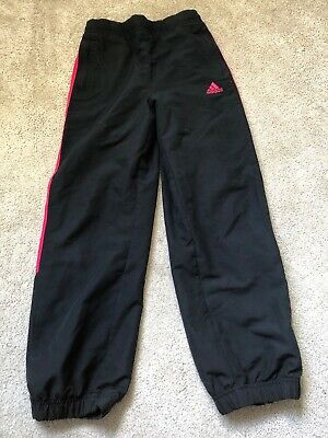 Girls Black/Pink Adidas Tracksuit Bottoms - Age 7-8 Years