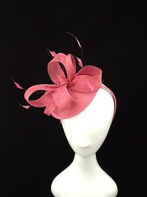 Pink Looped Sinamay And Feather Fascinator On Headbandcode: Fpink03