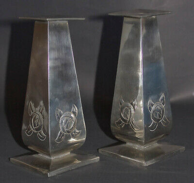 Glasgow School Arts and Crafts Antique Silver Candlesticks by Margaret Gilmour