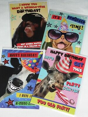 JUST 35p FUNNY ANIMAL BIRTHDAY CARDS X 36, 6 DESIGNS X 6, WRAPPED, FOILED (B
